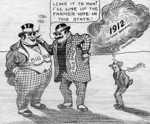 In early 1900s, progressives from both political parties joined forces to form the Nonpartisan League and create North Dakota's public bank. One of the original goals was to save family farms from foreclosure by big banks. Thanks to North Dakota's public bank and its local investment policy, it was the only state whose economy didn't collapse during the 2008-09 Wall Street crash. (Cartoon published in the Non-Partisan Leader in 1912.)